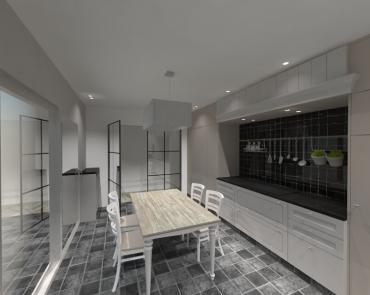 landelijke keuken met zwart werkblad