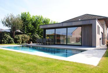 poolhouse met inox zwembad