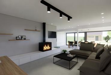 ontwerp leefruimte met haard