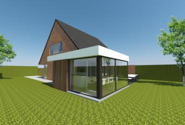 houten bijgebouw met zwarte ramen en witte oversteek