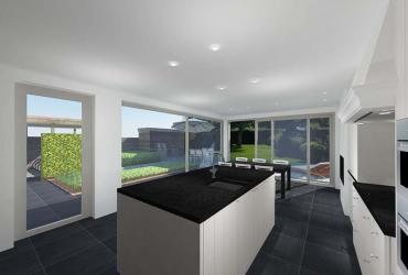 keuken met donker werkblad
